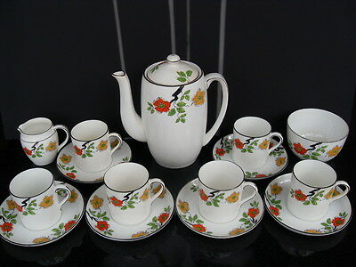 Art Deco Foley China Coffee Set Porcelain Coffee Pot Cups And Saucers Vintage