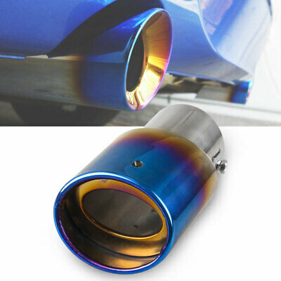 Wilsondyno Burnt Blue Stainless Steel Car Oval Rear Exhaust Pipe Tail Muffler