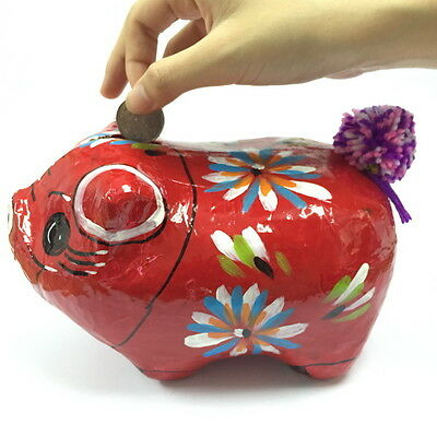 VINTAGE PIGGY BANK Paper Mache Collectible Handmade ADORABLE RED ART Handpaint