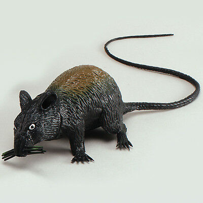 Large Squeaking Rat – Halloween Accessory Toy Squeaky Mouse Scary Prank Black