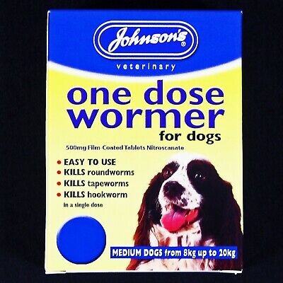 JOHNSONS 6-20kg DOG EASY WORMER SIZE 2 WORMING TABLETS KILL TAPEWORM & ROUNDWORM