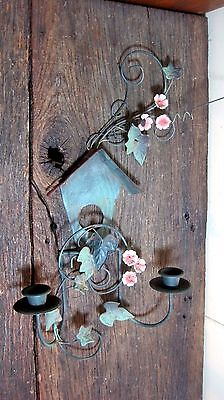 Vintage Distressed Bird House Taper Candle Holder Home & Garden Wall Sconce
