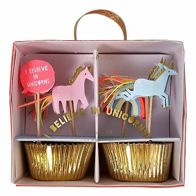 I Believe In Unicorns 24 Gold Foil Cupcake Cases & Toppers Kit
