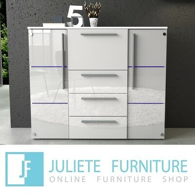 Modern Living Room Chest of drawers WHITE / BLACK HIGH GLOSS LED free delivery