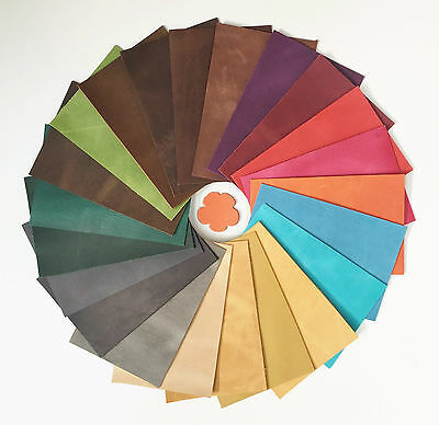 Leather Pieces Of Pull Up Leather 2.0-2.2Mm Thick 15Cm X 10Cm Assorted Colours