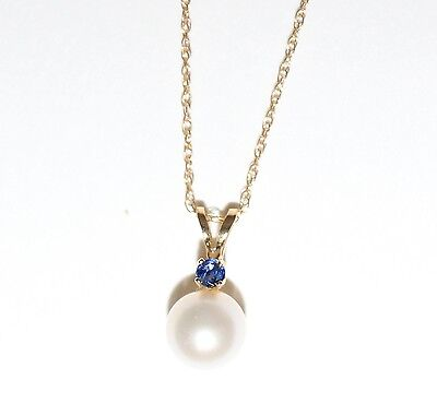 Pearl & Sapphire Pendant on 18 inch 14K Yellow Gold Chain - NEW
