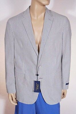 Polo Ralph Lauren Mens Blue Cream Stripe Sport Coat Blazer Suit Jacket 44R Italy