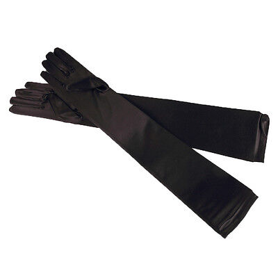 "22"" Black Stretchy Satin Wedding Bridal Opera Prom Party Fancy Dress Gloves"