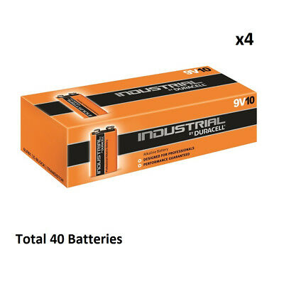 40 x 9V Duracell Industrial MN1604 E-Block Alkaline Batteries for Electronics