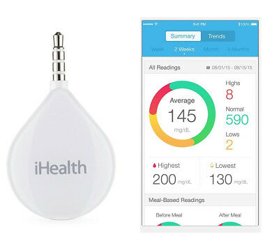 iHealth Align BG1 Smart Diabetes Glucose Test And Save System Connects to Phone