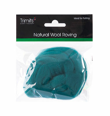TRIMITS Natural 100% Wool Roving For Needle Felting 10g - GRASS GREEN