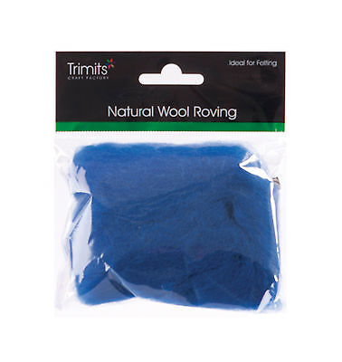 TRIMITS Natural 100% Wool Roving For Needle Felting 10g - SAPPHIRE