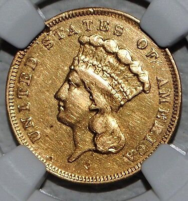 1856 Three Dollar Gold NGC XF Details $3 Coin US