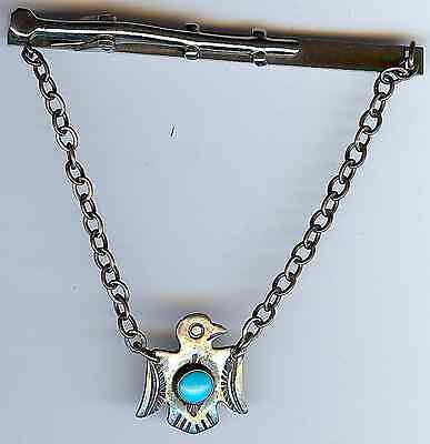 Vintage Navajo Indian Silver Turquoise Thunderbird Tie Bar Clip