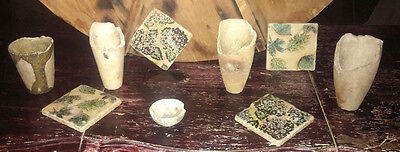 Ancient kIitchenware Cups, bowl and Clay/Stone crystaline Tiles