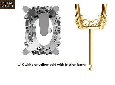 8x6mm - 14x10mm Oval Vintage Scroll 14K Solid Gold Earing Mountings