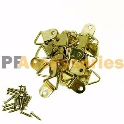 """20 Pcs 1/2"""" inch D Ring Hanging Picture Frame Hanger Hooks Brass Plated w/ Screw"""