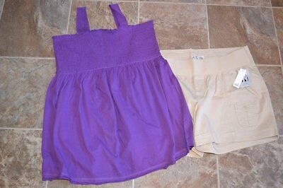 Xl Extra Large New Maternity Outfit Old Navy Purple Top Shirt Duo Knaki Shorts