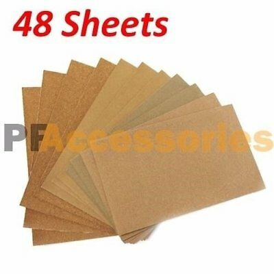 "48 Sheets Assorted Grits Sandpaper Sanding Paper 9 x 11"" inch LOT for Wood Paint"