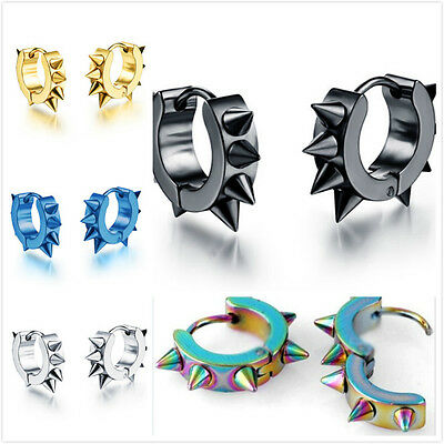 1 Pair Fashion Women Men Punk Stainless Steel Rock Rivet Spike Ear Stud Earrings