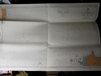 "MEDITERRANEAN SEA Sardinia to Sicily NAVIGATION CHART Map  28"" x 41"""