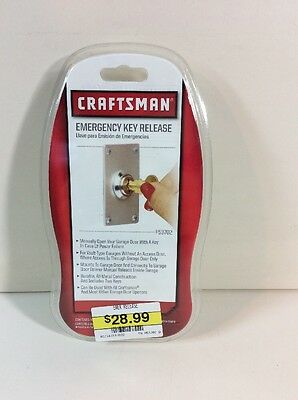 New NIP CRAFTSMAN EMERGENCY KEY RELEASE 53702 Garage Door Power Outage