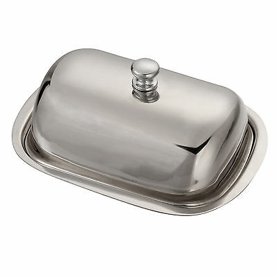 New Stainles Steel Butter Dish Tray Holder Retro With Lid For Kitchen Silver