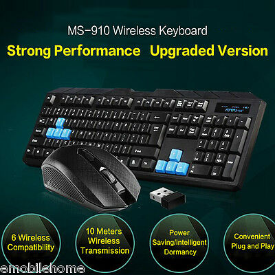 Waterproof 2.4G Optical Wireless Gaming Mouse and Keyboard USB Receiver Kit PC