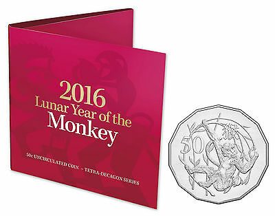 2016 Royal Australian Mint Tetra-Decagon 50c Coin - Year of the Monkey