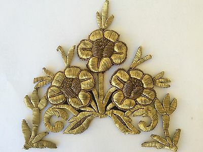 Antique Ottoman Turkish Gold Metallic Hand Embroidery For Applique R