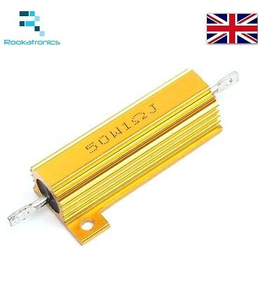 50W Golden Aluminium Load Resistor Wirewound Various Values - High Quality New