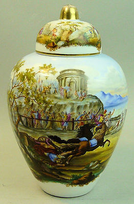 Antique Dresden Hand Painted Titled Classical Scene Vase C.1880