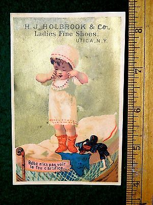 1870s-80s Child Waking Up Doll H.J Holbrook & Co Ladies Fine Shoes Trade Card F6