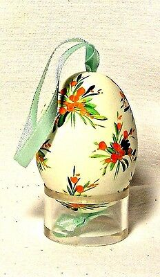 Genuine Hand painted Duck Egg w/Green/Orange Floral-Easter Ornament/Gift-Poland