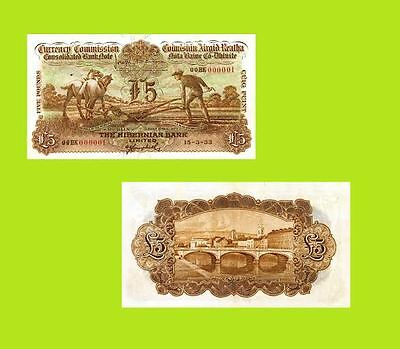 Ireland Currency 5 Pounds 1933 Ploughman Note  UNC - Reproductions