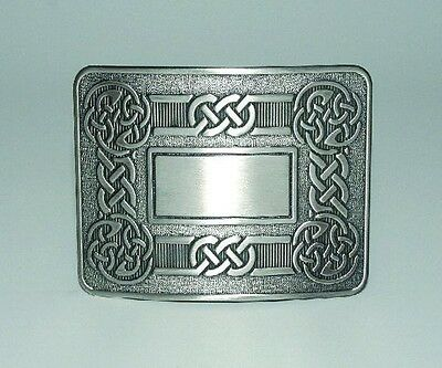 Celtic Swirl Pewter Belt Buckle CHROME FINISH For Scottish Party and Casual