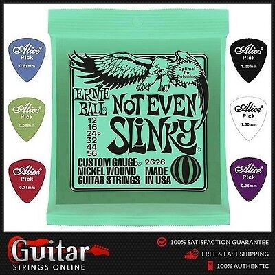 Ernie Ball 2626 Not Even Slinky Electric Guitar Strings 12-56 +6 Free Picks New