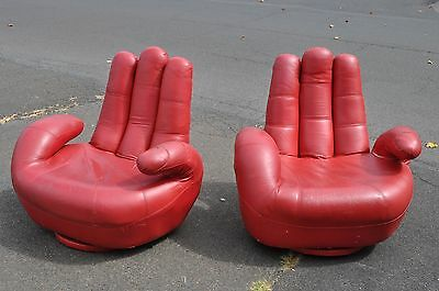 Pair Of Mid Century Modern Style Swivel Hand Chairs