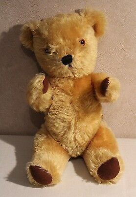 "VNT British Teddy Bear Bell in Right Ear Dean's Childsplay Toy Ltd 12"" Jointed"