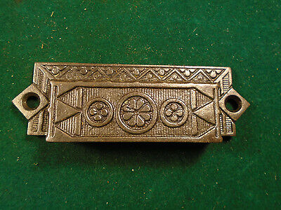 Vintage Eastlake Cast Steel Bin / Drawer Pull - Large Size  (6308)