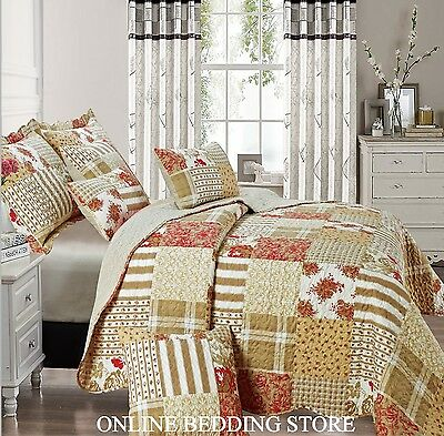 Beautiful Floral Vintage Patchwork (Alvina) Quilted Bedspread & 2 Pillow Shams
