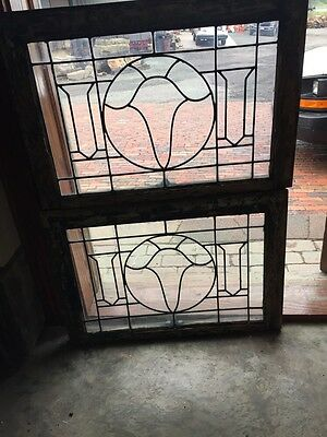 Sg 845 2 Available Price Separate Antique Leaded Glass Window