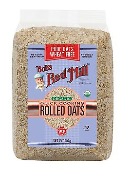 Bob's Red Mill Organic Quick Cooking Rolled Oats Pure Wheat Free 907g
