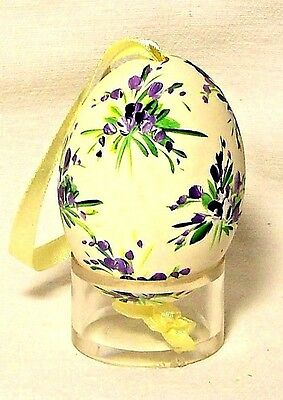 Genuine Hand painted Duck Egg w/Purple/Green Floral-Easter Ornament/Gift-Poland