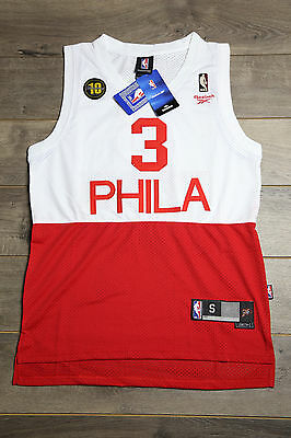 super popular f93b9 9f14c ALLEN IVERSON #3 Philadelphia 76ers Jersey White Red Swingman Basketball  Vintage