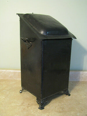 SCUTTLE BIN Fireplace Hod w/Liner CAST METAL WROUGHT IRON? Antique/Vtg LION FOOT