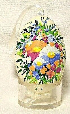 Genuine Hand painted Duck Egg w/Pastel Pansy Floral-Easter Ornament/Gift-Poland