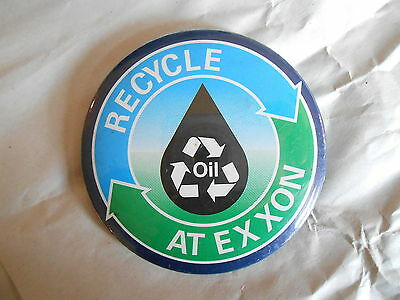 Vintage Recycle Oil At Exxon Gas and Oil Advertising Pinback Button