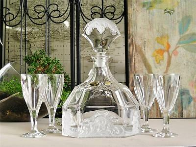 Frosted Art Deco Bohemia Crystal decanter and 4 liqueur / shot glasses. NEW