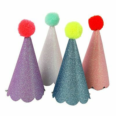 8 Assorted Paper Glitter Cone Party Hats With Pom Poms